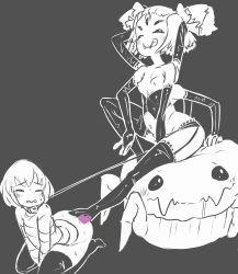 1girl androgynous arms_up blush breasts censored fangs femdom frisk_(undertale) latex licking_lips monochrome monster_girl muffet multi_limb pigtails railroadmejic small_breasts spider spider_girl spot_color tongue_out undertale