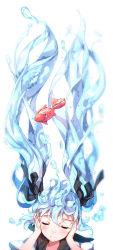 1girl air_bubble animal bison_cangshu black_ribbon blue_hair blush bottle_miku eyelashes eyes_closed fish hair_ribbon hatsune_miku head_tilt highres holding_ears liquid_hair long_hair ribbon sailor_collar scales school_uniform serafuku simple_background smile solo underwater very_long_hair vocaloid water white_background