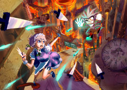 1boy 1girl absurdres character_request cityscape clock crossover explosion fighting fire highres izayoi_sakuya knife road road_sign sign silver_hair sonic_the_hedgehog touhou triple-q