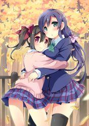 2girls asymmetrical_docking blazer breast_press cardigan fence hug leaf love_live!_school_idol_project multiple_girls neneko-n ribbon school_uniform shiny shiny_skin thighhighs toujou_nozomi tree uniform yazawa_nico yuri zettai_ryouiki