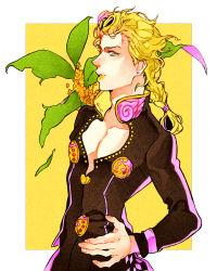 1boy blonde_hair braid giorno_giovanna highres jojo_no_kimyou_na_bouken ladybug lipstick makeup okuya00 solo yellow_eyes yellow_lipstick