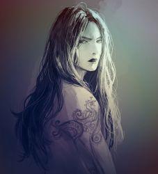 1boy black_hair black_lipstick diavolo from_side highres jojo_no_kimyou_na_bouken lipstick long_hair makeup male_focus meron_nouka shirtless solo tattoo upper_body