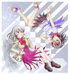 commentary_request horns kijin_seija kisaragi_koushi kishin_sagume multicolored_hair single_wing streaked_hair touhou wings