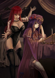 2girls amibazh bangs bat_wings black_legwear bow breasts candle candlelight candlestand capelet cleavage corset crescent_moon curtains demon_girl demon_tail dress expressionless eyebrows feathers flame garter_straps hair_bow hand_in_hair hand_up hat_ornament highres ink koakuma large_breasts lips lipstick long_hair long_sleeves looking_at_another looking_back makeup mob_cap moon multiple_girls open_mouth patchouli_knowledge purple_eyes purple_hair red_eyes red_hair ribbon room sitting skull sleeves_rolled_up smile standing table tablecloth tagme tail talking thighs touhou white_legwear wide_sleeves wings writing