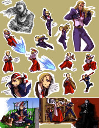 3boys bandanna baseball_cap billy_kane blonde_hair blue_eyes bomber_jacket denim dougi fatal_fury fingerless_gloves formal geese_howard gloves grass hat highres itkz_(pixiv) jacket japanese_clothes jeans king_of_fighters laundry long_hair multiple_boys muscle necktie pants ponytail ryuuko_no_ken short_hair smile snk special_moves staff suit tank_top terry_bogard three_section_staff topless translation_request vest