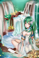 1girl adapted_costume ass bare_shoulders breasts detached_sleeves dress flower frog_hair_ornament green_eyes green_hair hair_flower hair_ornament hair_tubes highres himeki kochiya_sanae looking_at_viewer looking_back nature oonusa parted_lips plant rock rope see-through shimenawa snake_hair_ornament solo teeth thighs touhou water waterfall white_dress