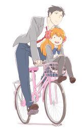 ._. 1boy 1girl bicycle black_hair bow carrying gekkan_shoujo_nozaki-kun hair_bow nagian nozaki_umetarou orange_hair polka_dot polka_dot_bow sakura_chiyo school_uniform