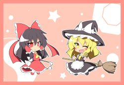 2girls apron ascot black_hair blonde_hair blush bow broom chibi detached_sleeves female hair_bow hair_tubes hakurei_reimu hat hat_bow kirisame_marisa long_hair long_skirt mini-hakkero multiple_girls open_mouth puffy_sleeves red_eyes senba_chidori short_hair short_sleeves skirt touhou wide_sleeves wink witch_hat yellow_eyes