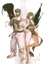 1boy 1girl absurdres alternate_costume alternate_hairstyle beard black_hair brown_hair chun-li chun_lo facial_hair headband highres muscle ryuu_(street_fighter) shirtless side-by-side street_fighter street_fighter_v