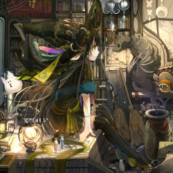 1girl animal_ears black_hair bone broom capelet cat dress fur_trim hat lamp long_hair looking_at_another mouth namae_mayoichuu original profile sitting skull spirit stitches striped striped_legwear thighhighs vertical-striped_dress vertical-striped_legwear vertical_stripes witch witch_hat yellow_eyes