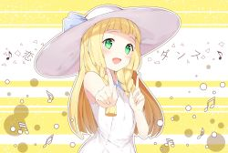 1girl :d absurdres armpit_peek arms_up bangs beamed_quavers beamed_semiquavers blonde_hair blunt_bangs blush braid check_commentary chitetan commentary commentary_request dress green_eyes happy hat highres index_finger_raised koi_dance lillie_(pokemon) long_hair looking_at_viewer music musical_note open_mouth pokemon pokemon_(game) pokemon_sm quaver simple_background sleeveless sleeveless_dress smile solo twin_braids upper_body white_hat yellow_background