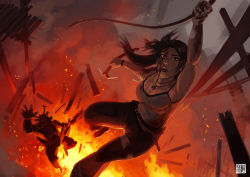 1girl brown_eyes brown_hair cloud earth fire lara_croft long_hair open_mouth rope smoke solo standing tank_top tomb_raider weapon