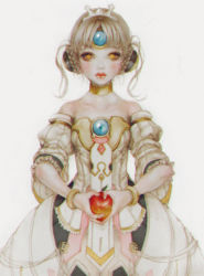1girl apple bare_shoulders blush bracelet braid closed_mouth code:_empress_(elsword) crown dress elsword eve_(elsword) food french_braid fruit grey_hair holding holding_fruit jewelry laphet long_hair looking_at_viewer portrait red_lips simple_background solo strapless strapless_dress upper_body white_background white_dress white_hair yellow_eyes