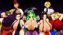 artist_kaiman breasts chun-li crimson_viper gigantic_breasts huge_breasts large_breasts morrigan_aensland multiple_girls rose_(street_fighter) shiranui_mai street_fighter tight vampire_(game)