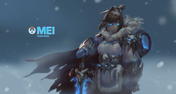 1girl artist_name beads blue_eyes blue_gloves brown_hair canister character_name coat cowboy_shot death_knight emblem franner frostmourne fur_coat fur_trim gauntlets gloves glowing glowing_eyes hair_bun hair_ornament hair_stick highres holding holding_sword holding_weapon logo mei_(overwatch) no_glasses overwatch parka parody short_hair sidelocks skull solo spaulders spiked_gauntlets sword warcraft weapon winter winter_clothes winter_coat world_of_warcraft