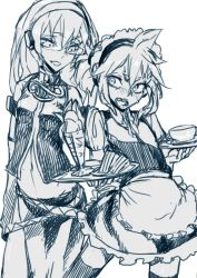 1boy 1girl alternate_costume blush crossdressing cup embarrassed enmaided femdom glasses groping height_difference holding_dish kagamine_len long_hair long_skirt maid maid_headdress megurine_luka monochrome open_mouth parfait ponytail sandwich skirt teacup tears thighhighs thupoppo tray vest vocaloid white_background