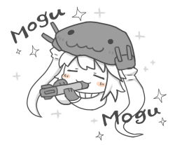 1girl :3 blush_stickers chibi eating eyes_closed gloves kantai_collection monster pale_skin shinkaisei-kan solo sparkle tentacle torpedo turret white_hair wo-class_aircraft_carrier yuasan