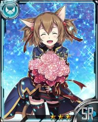 1girl animal_ears black_legwear black_skirt card_(medium) cat_ears cat_tail eyes_closed hair_ribbon holding_bouquet open_mouth pink_flower pleated_skirt red_flower red_ribbon ribbon silica silica_(sao-alo) skirt solo sword_art_online tail thighhighs zettai_ryouiki