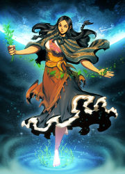 1girl barefoot black_hair braid brown_eyes capelet dark_skin dress earth full_body genzoman goddess incan_mythology leaf long_hair outstretched_arms pachamama payot planet plant solo space sprout star_(sky)