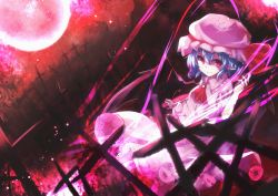 1girl ascot blue_hair brooch cross dutch_angle full_moon hat hat_ribbon highres jewelry lace-trimmed_skirt light_particles light_smile light_trail looking_at_viewer mob_cap moon pointy_ears red_eyes red_moon red_sky remilia_scarlet ribbon short_hair skirt skirt_set sky solo touhou yoshita21007