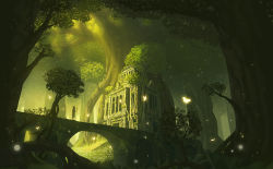 1girl animal_ears bridge building butterfly commentary dress fantasy forest highres light_particles nature nauimusuka original ruins scenery silhouette solo staff stairs sunlight tree