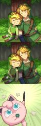 :< :3 aqua_eyes blonde_hair crossover drooling emphasis_lines eyes_closed forest grass highres jigglypuff link marker musical_note nature pointy_ears pokemon pokemon_(creature) shadow sitting sleeping the_legend_of_zelda the_legend_of_zelda:_skyward_sword the_legend_of_zelda:_the_wind_waker tree tree_shade tunic wusagi2