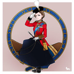 1girl blue_eyes boots british brown_hair dog elizabeth_ii england gloves hat highres horse horseback_riding inset looking_at_viewer medal military military_uniform queen real_life revision riding riding_crop salute silhouette solo spurs toge_inu uniform united_kingdom