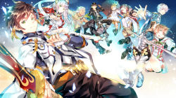4boys 4girls alisha_(tales) armor blonde_hair boots bracelet brown_hair coat dezel_(tales) earrings edna_(tales) fingerless_gloves gloves green_eyes hat hinahino jewelry knee_boots lailah_(tales) long_hair mikleo_(tales) multiple_boys multiple_girls rose_(tales) shirtless shoes side_ponytail skirt smile sorey_(tales) staff sword tales_of_(series) tales_of_zestiria tattoo umbrella weapon white_hair white_skirt zavied_(tales)