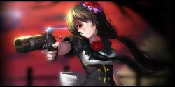 1girl black_hair blood blood_on_face date_a_live eyepatch flower gun hair_flower hair_ornament highres hk_(hk) long_hair red_eyes rose solo tokisaki_kurumi weapon