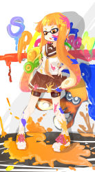 1girl bangs bike_shorts black_shorts blouse brown_skirt chawan_(yultutari) commentary cross-laced_footwear domino_mask full_body hair_ornament hand_on_hip highres holding holding_weapon ink_tank_(splatoon) inkling long_hair mask open_mouth orange_eyes orange_hair orange_neckerchief paint_splatter pleated_skirt pointy_ears school_uniform serafuku shoes short_sleeves shorts shorts_under_skirt single_vertical_stripe skirt sneakers solo splatoon splattershot_(splatoon) squid standing striped striped_skirt tentacle_hair weapon white_blouse white_shoes