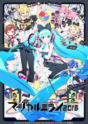 2boys 4girls bass_guitar black_footwear black_pants blonde_hair blue_eyes blue_hair boots bow brown_eyes brown_hair chibi coat cube dress drum drumsticks electric_guitar eyes_closed frilled_dress frilled_skirt frills gloves grin guitar hair_bow hatsune_miku headphones highres holding_instrument holding_microphone instrument kagamine_len kagamine_rin kaito keyboard_(instrument) lena_(zoal) looking_at_viewer magical_mirai_(vocaloid) matching_outfit megurine_luka meiko microphone microphone_stand multiple_boys multiple_girls music necktie one_eye_closed open_clothes open_coat pants pantyhose pink_hair playing_instrument red_skirt sailor_collar scarf short_sleeves shorts side_slit sitting skirt sleeveless sleeveless_dress smile sparkle speaker spotlight standing standing_on_one_leg text upscaled vocaloid white_gloves wire
