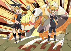 1boy 1girl abstract_background alternate_costume arm_warmers belt blonde_hair blue_eyes brother_and_sister clothes_writing floating food fruit fur_trim hair_ornament hair_ribbon hairclip hand_on_hip headphones kagamine_len kagamine_rin leg_warmers looking_at_viewer looking_away makkamu midriff navel neck_ribbon necktie one_eye_closed open_mouth ribbon sailor_collar shirt_lift short_hair short_sleeves shorts siblings signature smile twins vocaloid wind yellow
