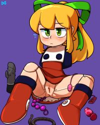 1girl anal_beads anus arms_behind_back blonde_hair blush boots dildo dress egg_vibrator female flying_sweatdrops green_eyes hair_ornament hair_ribbon high_ponytail knee_up lkll loli long_hair no_panties ponytail purple_background pussy restrained ribbon rockman rockman_(classic) roll rope sex_toy short_dress simple_background sitting solo spread_legs uncensored vibrator