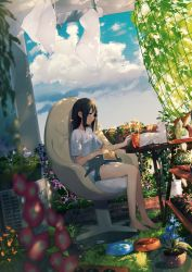 1girl achiki air_conditioner animal animal_on_lap bangs bare_legs barefoot black_hair blue_sky blurry book bowl brick cat chair closed_mouth cloud cup dappled_sunlight depth_of_field drink drinking_glass dutch_angle flower flower_pot from_side garden grey_hair holding holding_book laundry leaf long_hair looking_away morning_glory net office_chair original outdoors pet_bowl petting plant potted_plant shelf shirt short_sleeves shorts sitting sitting_on_chair sky smile solo sunlight t-shirt table tree vines watering_can white_shirt wind yawning