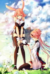 2girls absurdres animal_ears black_gloves black_legwear brown_eyes bunny_ears cloud day gloves green_eyes highres horns kingchenxi kneeling leaning_forward long_hair multiple_girls original outdoors pink_hair pixiv_fantasia pixiv_fantasia_t short_hair smile thighhighs