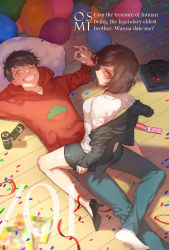 1boy 1girl balloon black_hair can cellphone confetti girl_on_top grin highres matsuno_osomatsu one_eye_closed osoko_(osomatsu-san) osomatsu-kun osomatsu-san phone pillow smile text zuizi