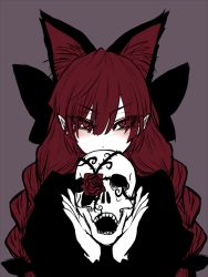 1girl animal_ears black_dress braid cat_ears covering_mouth dress extra_ears flower kaenbyou_rin long_hair looking_at_viewer miata_(pixiv) pointy_ears red_eyes red_hair red_rose rose skull solo touhou twin_braids upper_body
