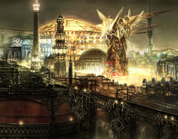 bridge city city_lights cityscape fantasy final_fantasy final_fantasy_xiii glowing lightning_returns:_final_fantasy_xiii night no_humans official_art outdoors power_lines scenery square_enix statue