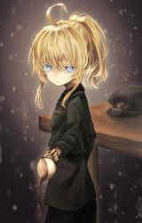 1girl blonde_hair blue_eyes cup hat highres military military_uniform short_hair solo spilling tanya_degurechaff tea teacup uniform youjo_senki