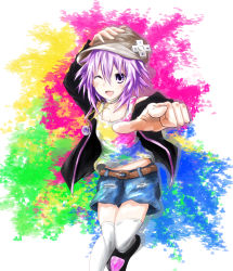 1girl ;d alternate_costume artist_request bare_shoulders blush choujigen_game_neptune colorful d-pad foreshortening gradient gradient_background hair_ornament hand_on_headwear highres jacket looking_at_viewer neptune_(choujigen_game_neptune) neptune_(series) one_eye_closed open_mouth pink_hair purple_eyes purple_hair shirt shoes short_hair sketch skirt smile solo t-shirt thighs