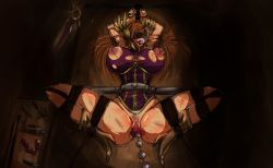 1girl abel_(10258341) anal_beads arms_up ball_gag bdsm blindfold bondage breasts brown_hair clitoris gag gagged highres league_of_legends leona_(league_of_legends) linked_piercing long_hair lying nipple_piercing nipples on_back piercing pubic_hair pussy sketch solo spread_legs uncensored vibrator