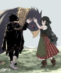 1boy 1girl alternate_costume animal_head asui_tsuyu bird black_hair blush boku_no_hero_academia boots braid cape cloak corset dress eyes_closed feathers frog_girl happy high_heel_boots hood hooded_cloak long_hair long_sleeves mia0309 petting puffy_short_sleeves puffy_sleeves red_eyes short_sleeves smile standing tokoyami_fumikage wings