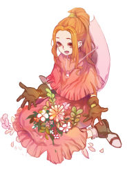1girl brown_hair digimon digimon_adventure dress flower gloves hat hat_removed headwear_removed kae_hokora long_hair smile solo tachikawa_mimi
