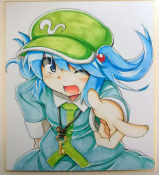 1girl blue_eyes blue_hair hair_bobbles hair_ornament hand_on_hip hat kawashiro_nitori key no_humans one_eye_closed open_mouth photo pointing pointing_at_viewer ryuu_(multitask) short_hair smile solo touhou traditional_media twintails
