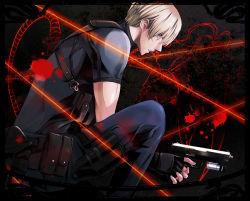 1boy blonde_hair chiya_(sere1) gun handgun holster las_plagas leon_s_kennedy resident_evil resident_evil_4 solo thigh_holster weapon