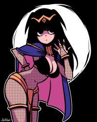 1girl akairiot bodystocking breasts cape cleavage fire_emblem fire_emblem:_kakusei hime_cut nintendo solo tharja tiara