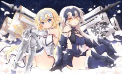2girls angeltype armor armored_dress armpits ass back-to-back blonde_hair blue_dress blue_eyes blue_legwear breasts brown_eyes brown_hair chains cleavage dress elbow_gloves fate/apocrypha fate/grand_order fate_(series) faulds flag flower fur_trim gauntlets gloves headpiece jeanne_alter legs_up long_hair multiple_girls petals ruler_(fate/apocrypha) sitting smile thighhighs very_long_hair white_dress zettai_ryouiki