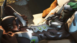 2boys age_difference brothers family genji_(overwatch) green_hair hanzo_(overwatch) incest male_focus multiple_boys overwatch reverse_newhalf siblings source_filmmaker yaoi