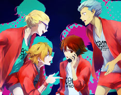 4boys blonde_hair blue_hair brown_eyes brown_hair domon_asuka dylan_keith glasses ichinose_kazuya inazuma_eleven inazuma_eleven_(series) joka male_focus mark_kruger multiple_boys phone short_hair simple_background