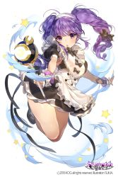 1girl :o ahoge aisha_(elsword) artist_name bare_legs black_bow black_bowtie black_dress black_shoes blush bow bowtie copyright_name crescent dress elsword eyebrows eyebrows_visible_through_hair foreshortening frilled_cuffs full_body glowing head_tilt holding jumping long_hair open_mouth outstretched_arm puffy_short_sleeves puffy_sleeves purple_eyes purple_hair shoes short_sleeves solo star sukja twintails wand white_apron